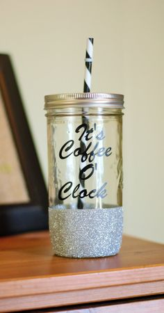 Coffee O'Clock Mason Jar Tumbler Glitter Dipped Tumbler by SillyGeeseBoutique on Etsy
