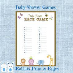 Safari Jungle Animal Baby Shower Baby Name Race Game Jungle Animal Baby Shower Name Race Game - Instant Download -Brown Frame Jungle Animals #babynameracegame #safaribabyshower #babyshowergames