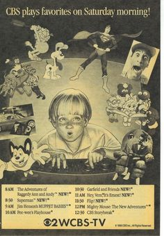 1988 TV Guide ad for the CBS Saturday Morning lineup Old Cartoon Shows, Cartoon Tv, Childhood Tv Shows, 90s Childhood, Childhood Memories, Cbs Saturday Morning, Kids Tv, 80s Kids, Pee Wee's Playhouse