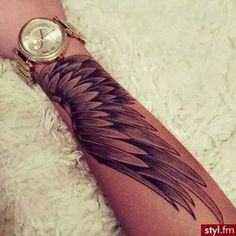 Forearm wing tattoo, back arm tattoos, heart wings tattoo, arm tattoos for women Trendy Tattoos, Cute Tattoos, Beautiful Tattoos, Body Art Tattoos, Hand Tattoos, Tatoos, Lower Arm Tattoos, Awesome Tattoos, Forearm Wing Tattoo