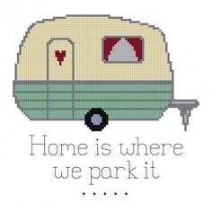 trailer home cross stitch pattern. xoxstitches.com