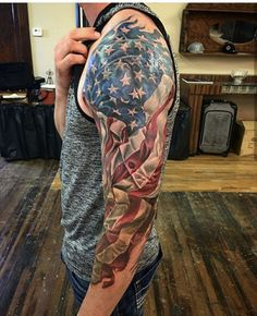 101 Best American Flag Tattoos: Patriotic Designs + Ideas Guide) Cool Patriotic American Flag Sleeve Tattoo - Best American Flag Tattoos: Cool Patriotic US Flag Tattoo Designs and Ideas For Men Patriotische Tattoos, Tribal Tattoos, Arm Sleeve Tattoos, Sweet Tattoos, Badass Tattoos, Tattoo Sleeve Designs, Tattoo Designs Men, Neck Tattoos, Finger Tattoos