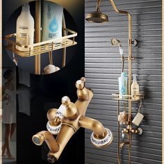 145.79$  Buy now - http://alizod.worldwells.pw/go.php?t=32774016512 - Antique Brass Shower Mixer Valve Set One Handle with Storage Holde Shower Faucet Taps + Tub Spout