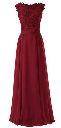 Wedding House,Lange Chiffon Abschlussball Kleider Scoop Abendkleider mit Applikationen PPC3: Amazon.de: Bekleidung