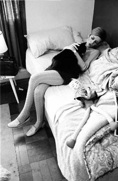 England. London. 1966. 'Twiggy with her cat'. , 1966  by Burt Glinn  Photograph