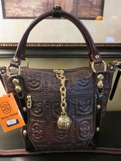 MARINO ORLANDI EMBOSSED ITALY BROWN LEATHER CROSSBODY HANDBAG SHOULDER PURSE #MarinoOrlandi #SatchelCrossBodyShoulder