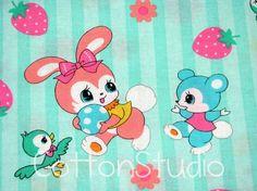 Kawaii Japanese Fabric Bunny Bird Lecien Retro
