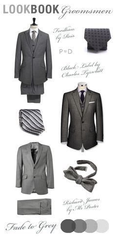 Lookbook: Fade to Grey ~ Styling Ideas for Groomsmen by Pocketful of Dreams    colour palette, Colour Swatches, Dark, Event Planning and Design, Event Styling, Fade to Grey, Grey, Grey Grooms, Grey Groomsmen, Grey Suits, Grey Tailored Mens Suits\, Lookbook Men, Mens Fashion, Mens Wedding Attire, monochrome, Neutrals, Pocketful of Dreams, Wedding Inspiration, wedding mood board, Wedding Suits