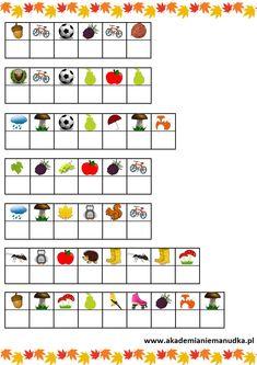 Jesień - karty pracy, prace plastyczne, ludziki z kasztanów i zabawy dla dzieci. | Akademia Niemanudka Calendar, Holiday Decor, Life Planner