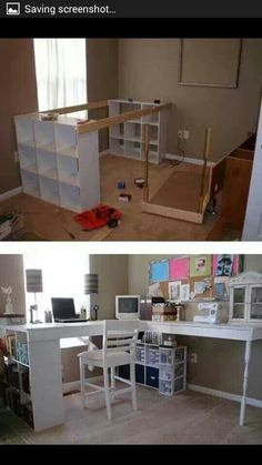 This is a wonderfully simple approach to creating a desk and sewing area!