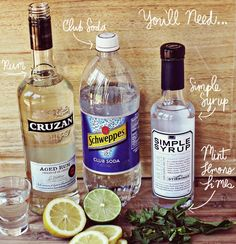 Classic mojito supplies (using simple syrup instead of sugar, for a little more sweetness!)