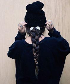 chapeau tuque beanie tresse braid hairstyle messy bad hair - Foulard Color