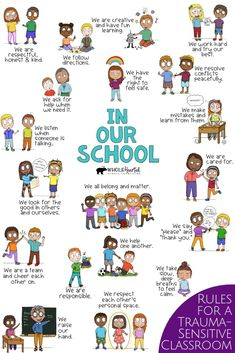 Classroom Rules & Expectations: For Teachers Creating a Trauma Sensitive Classroom (Supports PBIS) School Counseling Office, School Counselor, Social Emotional Learning, Fun Learning, Behavior Interventions, Responsive Classroom, Counseling Activities, Classroom Rules, Positive Behavior