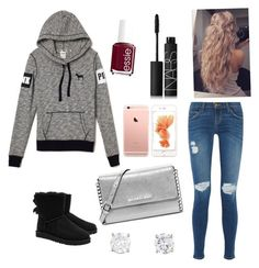 """Winter teen cute outfit pink Victoria's Secret"" UGG Australia, MICHAEL Michael Kors, NARS Cosmetics and Essie"
