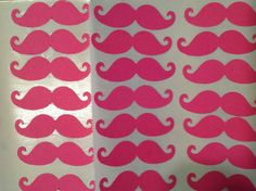 FREE SHIPPING 40 bright pink mustache stickers by jessicasue34, $10.40