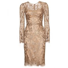 Dolce & Gabbana Dress With Lace Overlay ($1,377) ❤ liked on Polyvore featuring dresses, vestidos, short dresses, cocktail dresses, make up scuro, scalloped hem dress, lace overlay dress, scoop neck dress, 3/4 sleeve cocktail dress e 3/4 length sleeve dresses