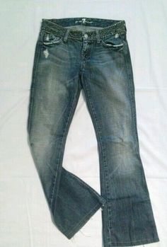7 FOR ALL MANKIND STONEWASH STUDS FLARE BOHO JEANS PANTS A-POCKET DISTRESSED 25  #7ForAllMankind #Flare