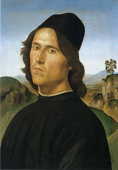 Perugino (Italian, 1446-1523) ~ Portrait of Lorenzo di Credi (Italian,1459-1537) ~ 1488 ~ Pietro Perugino, born Pietro Vannucci, was an Italian Renaissance painter of the Umbrian school, who developed some of the qualities that found classic expression in the High Renaissance. Raphael was his most famous pupil. Lorenzo di Credi was an Italian Renaissance painter and sculptor. He first influenced Leonardo da Vinci and then was greatly influenced by him.