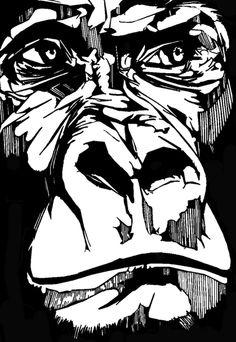 gorilla face stencil - Google Search