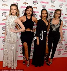 A vision in white! Perrie Edwards cut a statuesque figure alongside her Little Mix bandmates, Jesy Nelson, Leigh-Anne Pinnock, Jade Thirlwall (L-R) on the red carpet Little Mix Updates, Little Mix Jesy, Litte Mix, Jesy Nelson, White Gowns, Perrie Edwards, Celebrity Style, Celebrity Women, Celebrity News