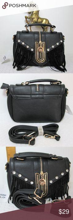 15794645e3 HP❣New❣Black Fringe Vegan Crossbody Bag Faux leather crossbody has gold  tone hardware