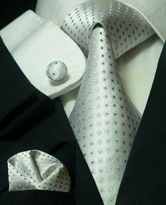 Silver Necktie Set JPM11E – Toramon Necktie Company