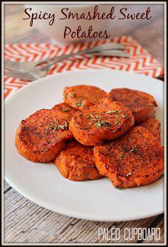 Paleo Spicy Smashed Sweet Potatoe Recipe - www.PaleoCupboard.com