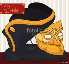 Traditional Bauta Mask, Cape and Tricorn for Carnival of Venice
