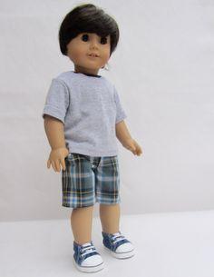 American Girl Boy Doll Clothes  Plaid Shorts and by Minipparel, $26.00