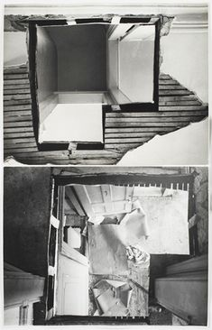 """REMOVE"" Gordon Matta-Clark Remove object, place it somewhere else in another collage Different colours into black and white"
