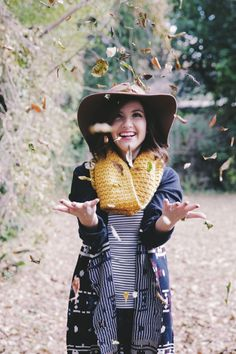 Oversized chunky scarf, floppy hat, stripes, and oversized sweater / Kaylee Daily