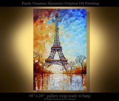 A ONE-OF-A-KIND absolutely unique oil painting. Hand painted and signed by me. The image shown is the photo of the painting you actually receive.    Original Contemporary Modern fine Art by Nizamas. Abstract Modern Silver Birch painting - extra thick oil texture impasto paint, several layers palette knife painting. Click on thumbnail image and then on the image above to see close-ups.    Artwork description: Eiffel Tower    Size 30 x 20 x 1 deep    Artist: Paula Nizamas  About artist…