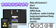 Wordator - HTML5 Word Game - AdMob Ready . Create significant words using specific letters and gain score.Longer words gains more