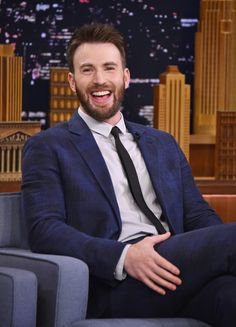 Chris Evans is interviewed by host Jimmy Fallon during his visit to 'The Tonight Show Starring Jimmy Fallon.'