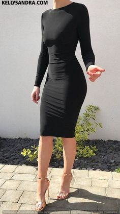 A knee length bodycon dress featuring an elegant high neck and high back design. Model wears a size small. Product Details Production Handmade in England us Sexy Dresses, Cute Dresses, Fashion Dresses, Modest Fashion, Mode Outfits, Dress Outfits, Classy Outfits, Casual Outfits, Sexy Outfits