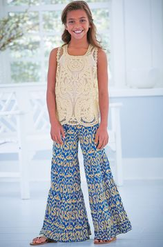 From CWDkids: Embroidered Lace Tank Top & Southwest Print Pants