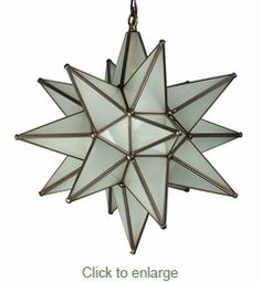 mexican star glass lamp in brass // for the hallway