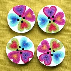 6 Large Wood Buttons Heart Design Fun Colors by BohemianFindings, $2.50