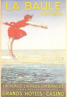 Old Fashion Image, Region Bretagne, Travel Ads, Seaside Resort, Parc National, France, Vintage Travel Posters, French Vintage, Summer Vibes