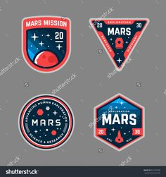 Mars mission patch designs. Stock vector graphics and badges by Mike McDonald, via Shutterstock.