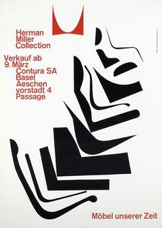"Armin Hofmann, poster design for Herman Miller, 1962. Switzerland. ""Furniture of our time"", Contura SA Basel."