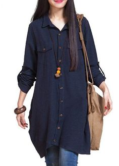Navy Blue Long Sleeve Button Closure Shirt on sale only US$32.06 now, buy cheap Navy Blue Long Sleeve Button Closure Shirt at lulugal.com