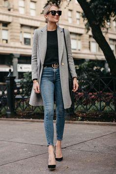 Blonde Woman Wearing Zara Grey Wool Coat Black Sweater Denim Skinny Jeans Gucci Marmont Belt Christian Louboutin Black Pumps Fashion Jackson Dallas Bl… - All About Casual Work Outfits, Business Casual Outfits, Work Attire, Mode Outfits, Work Casual, Fashion Outfits, Women's Casual, Heels Outfits, Blazer Fashion