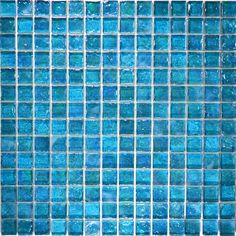 """Other :: Glass Tile Blends :: Turquoise 1"""" x 1"""" (Poured Series) - Blue Water Pool Mosaics - $17.58"""
