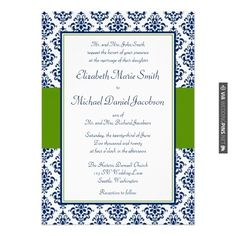 Amazing! - Navy Blue and Green Damask Wedding Invitations | CHECK OUT MORE IDEAS AT WEDDINGPINS.NET | #weddings #weddingplanning #coolideas #events #forweddings #weddingplaces #romance #beauty #planners #weddingdestinations #travel #romanticplaces #eventplanners #weddingdress #weddingcake #brides #grooms #weddinginvitations