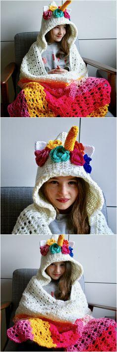 How to crochet a Unicorn hooded blanket crochet pattern by Luz Patterns.com #crochet #unicorn #unicornblanket