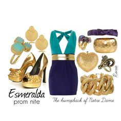 Esmeralda, created by allegra9 on Polyvore #Esmeralda #disney #Humpback #NotreDame #golden #turquoise #purple #prom #promnight #goat #ring