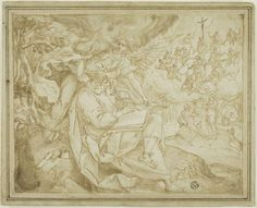 Maerten de Vos, 1532-1603, Flemish, Saint Matthew with Adam and Eve and the Tree of Jesse, n.d.  Pen and brown ink, with brush and brown wash, heightened with white gouache, over traces of black chalk, on ivory laid paper, laid down on tan laid paper 20.5 x 26 cm (image/original sheet); 23 x 28.7 (backing sheet) cm.  Art Institute of Chicago, Mannerism.