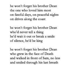FEELS!!!! NO! DON'T MAKE ME THINK THAT DEAN DIES FOR THE FINAL TIME AND SAM LIVES ALONE! NO