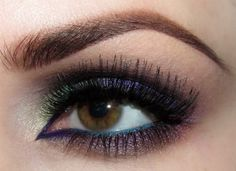 purple look with green and teal pop! <3